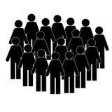 Illustration av folkmassan av folk - symbolskonturer Social symbol För lägenhetstil för modern design symbol stock illustrationer