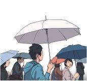 Illustration av folkmassan av folk med regnlag och paraplyer i färg stock illustrationer