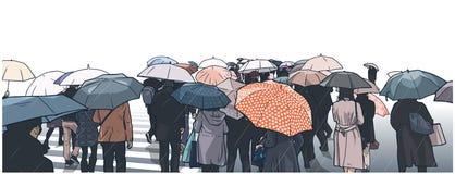 Illustration av folkmassan av folk som väntar på gatakorsningen i regnet med regnlag och paraplyer royaltyfri illustrationer