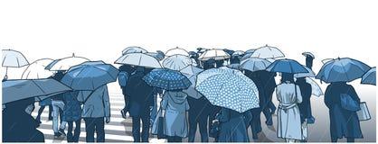 Illustration av folkmassan av folk som väntar på gatakorsningen i regnet med regnlag och paraplyer vektor illustrationer