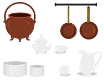 Illustration av gamla traditionella objekt för ett kök: kopparkokkärl och pannor, plattor, teservis, jag, tekanna, kaffeservice Royaltyfri Bild