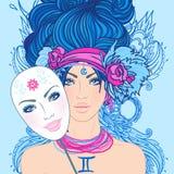 Illustration av geminizodiaktecknet som en härlig flicka med maskeringen Arkivfoto