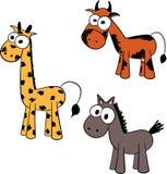 Illustration av giraffet, kon och hästen Royaltyfri Bild