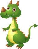 Illustration av grönt gulligt posera för drake Arkivbilder