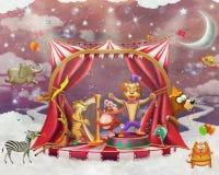 Illustration av gulliga cirkusdjur på etapp i himmel Royaltyfri Bild