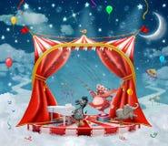 Illustration av gulliga cirkusdjur på etapp i himmel Fotografering för Bildbyråer