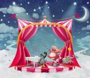 Illustration av gulliga cirkusdjur på etapp i himmel Arkivfoto