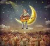 Illustration av gulliga hus med en man som spelar på gitarren Arkivbilder