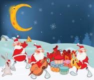 Illustration av gulliga Santa Claus Music Band och julgåvor Arkivfoto