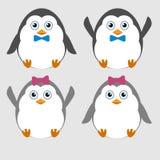 Illustration av gulliga små roliga pingvin vektor illustrationer
