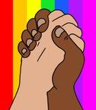 Illustration av händer som bakom knäppas fast samman med regnbågeflaggan fotografering för bildbyråer