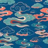 Illustration av härlig mån- skymning med färgglade ljusa moln Seamless repetition mönstrar vektor illustrationer