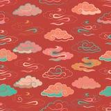 Illustration av härlig mån- skymning med färgglade ljusa moln Seamless repetition mönstrar royaltyfri illustrationer