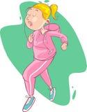 Illustration av härligt jogga för tecknad filmflicka Arkivbilder