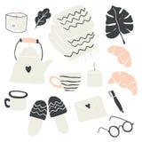 Illustration av höst- och vinterhyggebeståndsdelar royaltyfri illustrationer