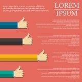 Illustration av handen som är infographic i plan design på bakgrund vektor illustrationer
