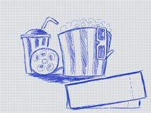 Illustration av handskrivet bandexponeringsglas och popcorn vektor illustrationer