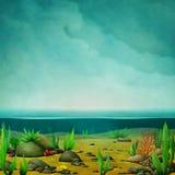 Illustration av havsbotten vektor illustrationer