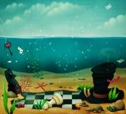 Illustration av havsbotten stock illustrationer