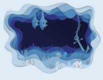 Illustration av havsbotten och ankarfartyget royaltyfri illustrationer