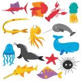Illustration av havsvarelser royaltyfri illustrationer