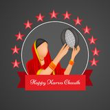 Illustration av hinduisk festivalKarwa Chauth bakgrund Arkivbilder
