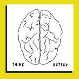 Illustration av hjärnan med text Royaltyfri Foto