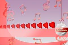 Illustration av hjärtor på en röd bakgrund för dag för valentin` s Arkivbild