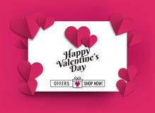 Illustration av hjärtor av rosa färgfärg Till salu befordringar för design royaltyfri illustrationer