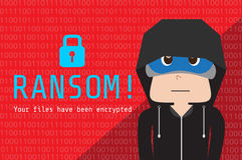 Illustration av hoodiefolk på bakgrundsdata som kodade vid lösenware Royaltyfri Foto