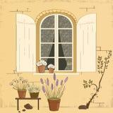 Illustration av husfasaden. Arkivbilder