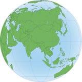 Illustration av jordjordklotet med fokuserat p? Asien vektor illustrationer