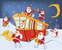 Illustration av jul Santa Claus Music Band Royaltyfri Fotografi