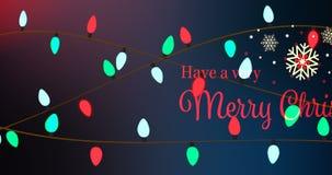 Illustration av jul som hälsar med meddelandet för glad jul vektor illustrationer