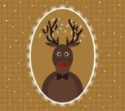 Illustration av julhjortar med girlanden på horn i mönstrad ram Arkivbild
