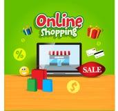 Illustration av köpande och shopping direktanslutet med vektorsymboler Arkivfoton