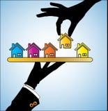 Illustration av köpandet ett hus - en kund som väljer ett hus Arkivbilder
