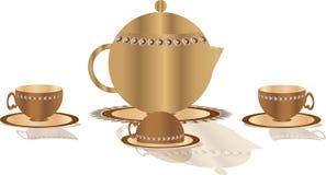 Illustration av kaffekruka- och koppsymbolerna stock illustrationer