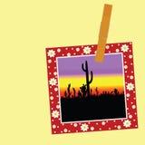 Illustration av kaktuns i bilden med ett gem Arkivfoto
