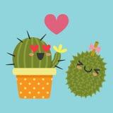 Illustration av kaktuns och durianen Royaltyfria Bilder
