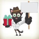 Illustration av katten för tecknad filmaffärstecken som rymmer en gåva bo Royaltyfria Bilder