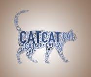 Illustration av kattformwordcloud Royaltyfria Bilder