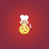 Illustration av kocken med smaklig pizza stock illustrationer