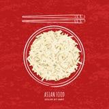 Illustration av kokta vita ris i knapphändig maträtt för vattenfärg och pinnar på röd bakgrund för grunge Top beskådar vektor illustrationer