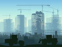 Illustration av konstruktionsplatsen med kranen. vektor illustrationer