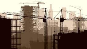 Illustration av konstruktionsplatsen med kranen och byggnad. stock illustrationer