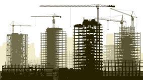 Illustration av konstruktionsplatsen med kranen och byggnad. royaltyfri illustrationer