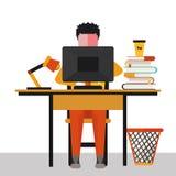 Illustration av kontorsarbetaren på skrivbordet Arkivfoton