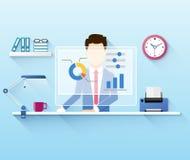 Illustration av kontorsarbetaren som använder datoren Arkivfoton