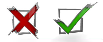 Illustration av kontrollen Mark Yes, inte, diagram, symbol Royaltyfri Fotografi